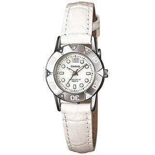 Casio Women's Core LTD2001L-7A1V White Leather Quartz Watch with White Dial