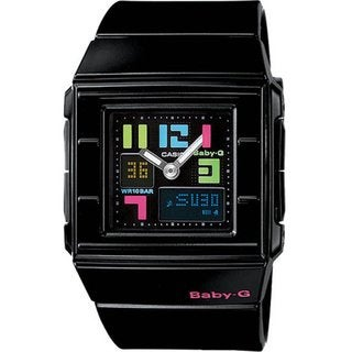 Casio Women's BGA200PD-1B Black Resin Quartz Watch with Black Dial