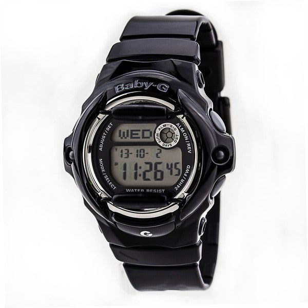 Shop casio women 39 s baby g black resin quartz watch with digital dial free shipping today for Black resin ladies watch