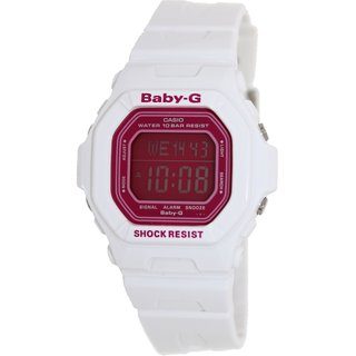 Casio Women's Baby-G White Resin Quartz Watch with Pink Dial