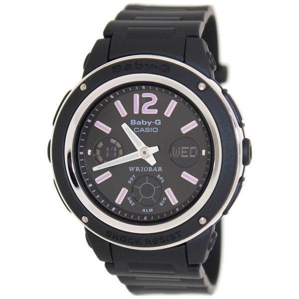 Casio women 39 s baby g bga150 1b black resin quartz watch with black dial free shipping today for Black resin ladies watch