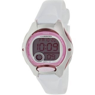 Casio Women's Core LW200-7AV White Resin Quartz Watch with Digital Dial