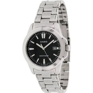 Casio Women's Core MTP1215A-1A2 Silvertone Stainless Steel Quartz Watch with Black Dial
