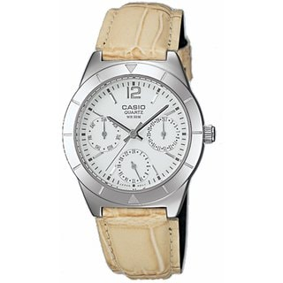 Casio Women's Core LTP2069L-7A1V Beige Leather Analog Quartz Watch with White Dial