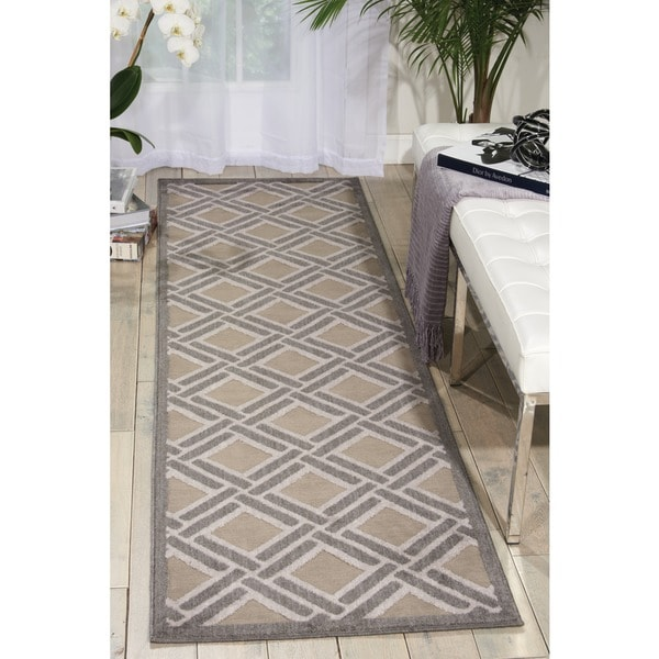 Nourison Graphic Illusions Grey Rug (2'3 x 8) - 2'3 x 8