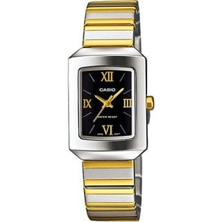 Casio Women's Core LTP1357SG-1C Two-tone Stainless Steel Quartz Watch with Black Dial