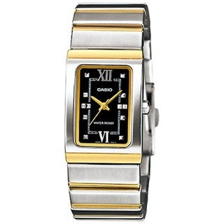 Casio Women's Core LTP1356SG-1A Two-tone Stainless Steel Quartz Watch with Black Dial