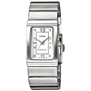 Casio Women's Core LTP1356D-7A Silvertone Stainless Steel Quartz Watch with White Dial
