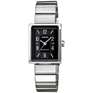Casio Women's Core LTP1356D-4A Silvertone Stainless Steel Quartz Watch with Black Dial