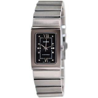 Casio Women's Core LTP1356D-1A Silvertone Stainless Steel Quartz Watch with Black Dial