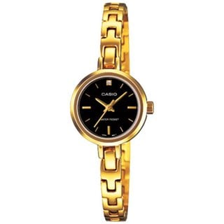 Casio Women's Core LTP1351G-1C Goldtone Stainless Steel Quartz Watch with Black Dial
