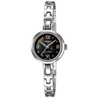 Casio Women's Core LTP1352D-1A Silvertone Stainless Steel Quartz Watch with Black Dial
