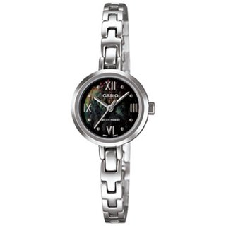 Casio Women's Core LTP1352D-1A Silvertone Stainless Steel Quartz Watch with Black Dial