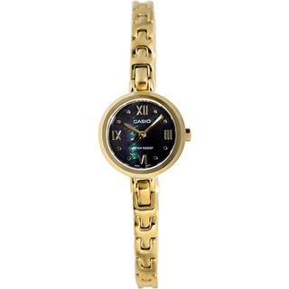 Casio Women's Core LTP1352G-1A Goldtone Goldtone Tone Stainles-Steel Quartz Watch with Black Dial