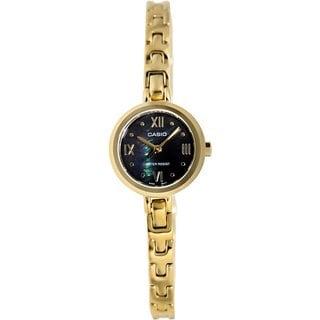 Casio Women's Core LTP1352G-1A Goldtone Goldtone Tone Stainles-Steel Quartz Watch with Black Dial