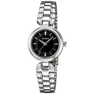 Casio Women's Core LTP1353D-1A Silvertone Stainless Steel Quartz Watch with Black Dial