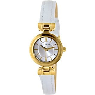 Casio Women's Core LTP1353GL-7A White Leather Quartz Watch with White Dial