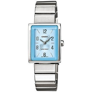 Casio Women's Core LTP1355D-2A Silvertone Stainless Steel Quartz Watch with Blue Dial