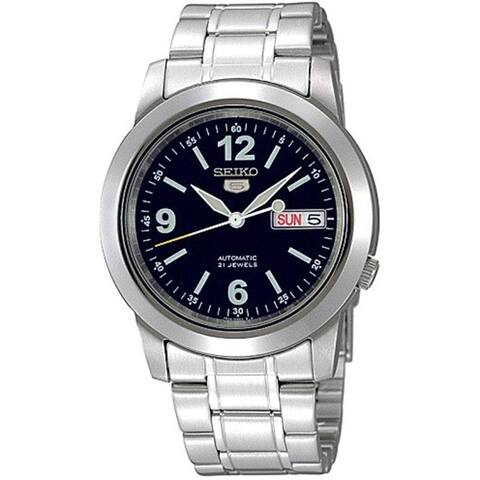 Seiko Men's 5 Automatic Silvertone Stainless Steel Automatic Watch with Blue Dial