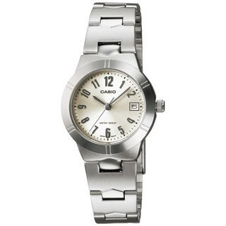 Casio Women's LTP1241D-7A2 Silvertone Stainless Steel Quartz Watch with White Dial