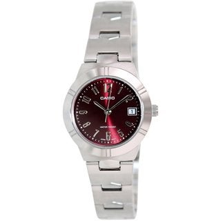 Casio Women's LTP1241D-4A2 Silvertone Stainless Steel Quartz Watch with Red Dial