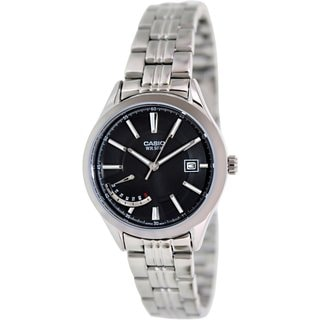 Casio Women's LTPE102D-1AV Silvertone Stainless Steel Quartz Watch with Black Dial