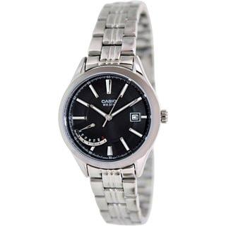 Casio Women's LTPE102D-1AV Silvertone Stainless Steel Quartz Watch with Black Dial
