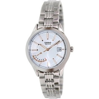 Casio Women's LTPE102D-7AV Silvertone Stainless Steel Quartz Watch with Silvertone Dial