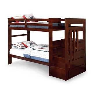 Furniture of America Brentor Classic Dark Walnut Twin over Twin Bunk Bed