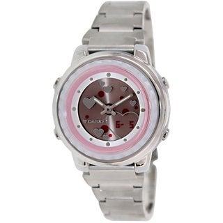 Casio Women's LAW25D-4AV Silvertone Stainless Steel Quartz Watch with Red Dial