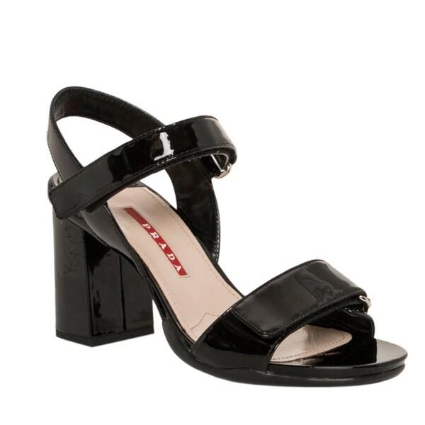 4a8ca973e Shop Prada Women s Black Patent Leather Block-heel Sandals - Free ...