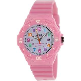 Casio Women's LRW200H-4B2V Pink Resin Analog Quartz Watch with White Dial