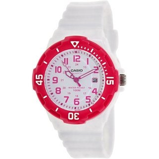 Casio Women's LRW200H-4BV White Resin Analog Quartz Watch with White Dial