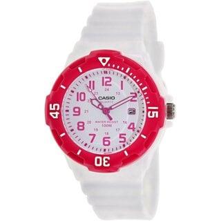 Casio Women's LRW200H-4BV White Resin Analog Quartz Watch with White Dial