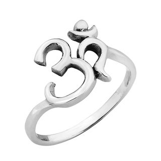 Handmade Spiritual Harmony Ohm or Aum Symbol .925 Sterling Silver Ring (Thailand)