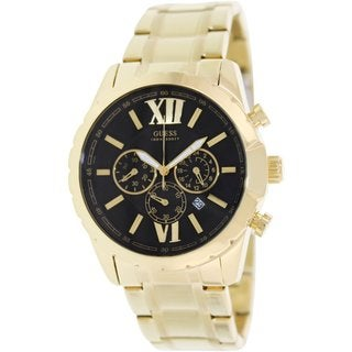 Guess Men's U0193G1 Goldtone Stainless Steel Analog Quartz Watch with Black Dial