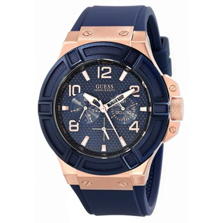Guess Men's Blue Silicone Analog Quartz Watch with Blue Dial