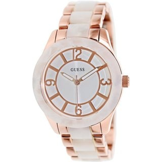 Guess Women's U0074L2 Rose-Goldtone Stainless Steel Quartz Watch with White Dial