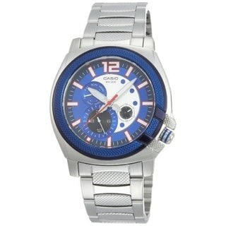Casio Men's Core MTP1316D-2AV Silvertone Stainless Steel Quartz Watch with Blue Dial