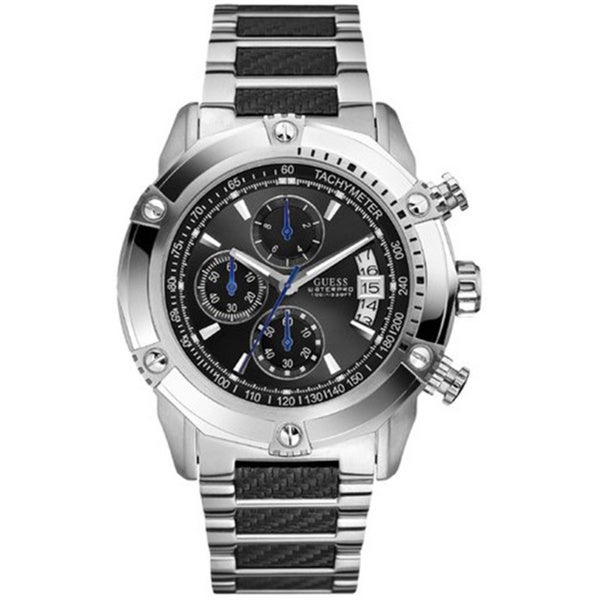 guess men s u18507g2 silvertone stainless steel quartz watch guess men s u18507g2 silvertone stainless steel quartz watch black dial