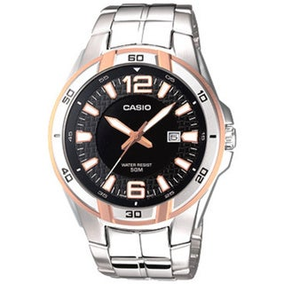 Casio Men's Core MTP1305D-1AV Silvertone Stainless Steel Quartz Watch with Black Dial