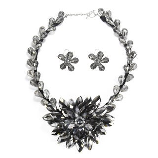 Silver Lotus Flower Bloom Dazzling Crystals Jewelry Set (Thailand)