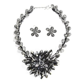 Handmade Silver Lotus Flower Bloom Dazzling Crystals Jewelry Set (Thailand)