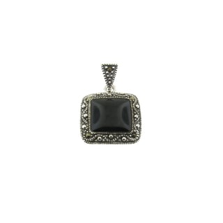 Sterling Silver and Marcasite Classic Antiqued Square Pendant (Thailand)