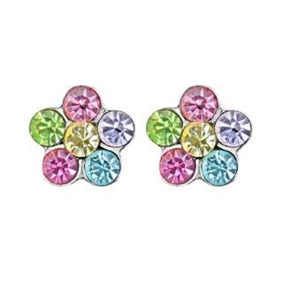 Handmade Sweet Multicolor Crystal Flower Stud .925 Silver Earrings (Thailand)