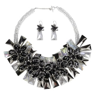 Dramatic Smokey Floral Garland Crystals Jewelry Set (Thailand)