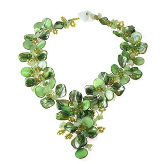 Serenity Green Floral Jade and Mother of Pearl Necklace (Philippines)