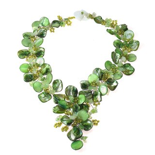 Handmade Serenity Green Floral Jade and Mother of Pearl Necklace (Philippines)