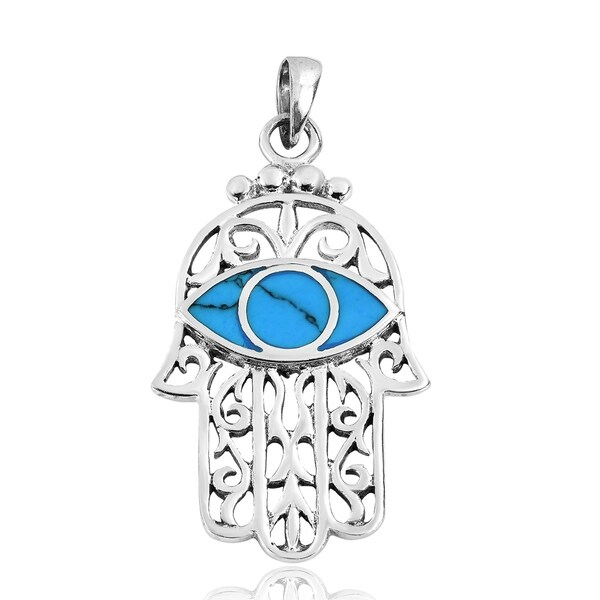Handmade Hamsa or Hand of Fatima Evil Eye .925 Silver Pendant (Thailand)