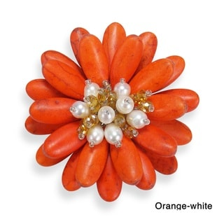 Double Sunflower Stone and Pearl Floral Pin or Brooch (Thailand)